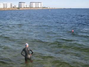 Mange havsvømmere tager en tur fra Svanemølle strand.