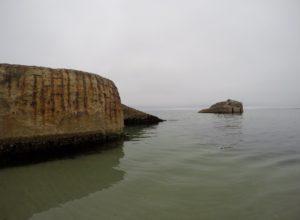 Flere af bunkerne ved Vigsø er halvt sunket i havet