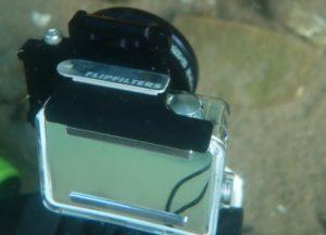 GoPro4 med flipfilter kit monteret og makrolinse